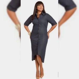 Ashley Stewart Hi-Lo Denim Shirt Dress